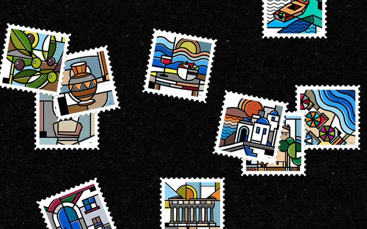 Tribute to Greece With a Graphic Abstract Stamps Collection – Fubiz Media