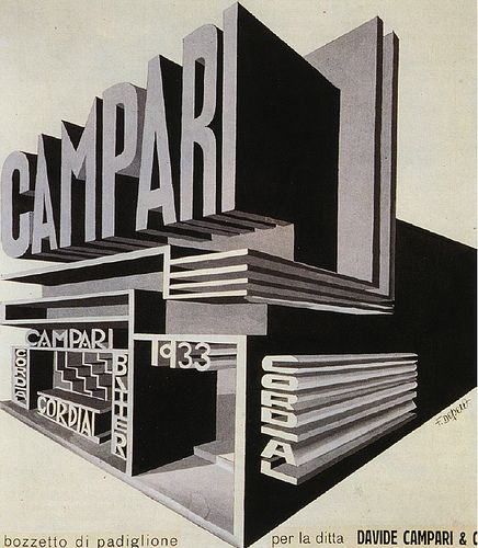 maquette for a Campari marquee by Fortunato Depero (1933)