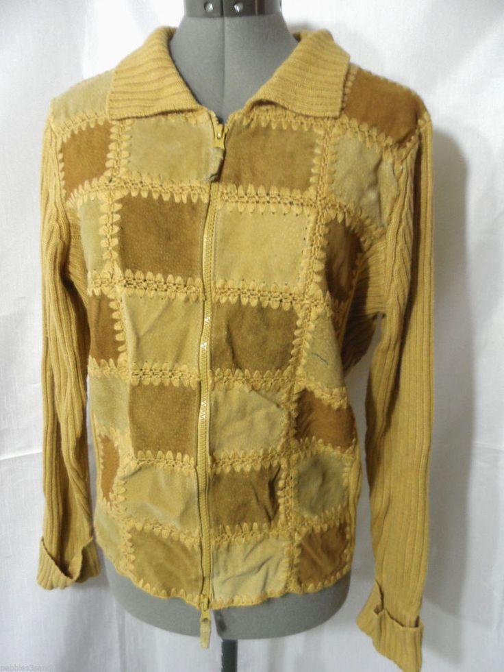 DESIGNER ORIGINALS Suede Leather Sweater Jacket women S Tan Beige Zip up vintage in Clothing, Shoes & Accessories, Women's Clothing, Sweaters | eBay
