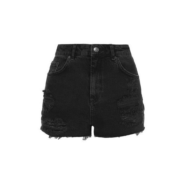 TopShop Moto Black Ripped Mom Shorts ($40) ❤ liked on Polyvore featuring shorts, bottoms, pants, washed black, distressed cut off shorts, distressed shorts, cutoff shorts, ripped shorts and topshop