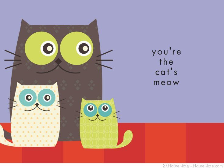 Best Friend - You're The cat's meow - Personalize your own stationery with a name, message or invitation. Sold in boxed sets of 8 cards. hautenote.com