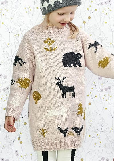 Free Until Dec. 31 2017 Millas Sweater Knitting Pattern -  Child's long-sleeved pullover with colorwork motifs of woodland animals and plants inspired by the book Milla Marble and the Mystery of the Missing Grandma. Options for a longer tunic and a shorter sweater.  Sizes 1, 2, 4, 6, 8, 10, 12 years. Available in English and Finnish. Designed by pawlymade.