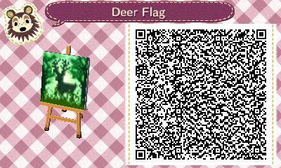 ACNL/ACHHD QR CODE-Deer Flag, Wall, Fabric