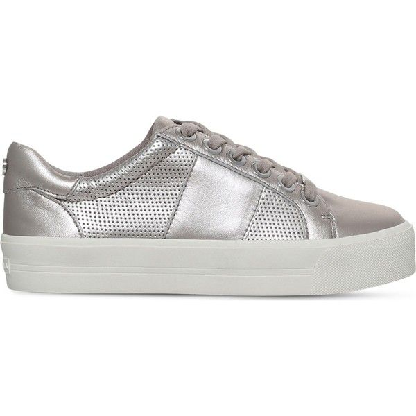 Carvela Lint leather trainers ($130) ❤ liked on Polyvore featuring shoes, sneakers, metallic sneakers, carvela shoes, leather footwear, flatform trainers and metallic shoes