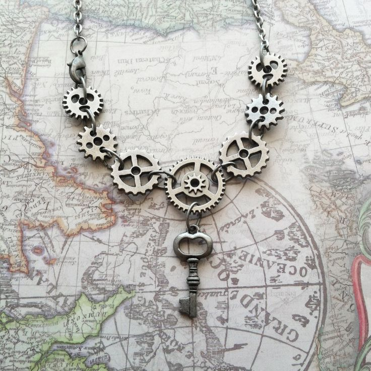 Silver Steampunk Gears Necklace