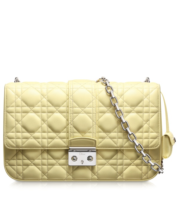 MISS DIOR - Pale yellow leather Miss Dior bag