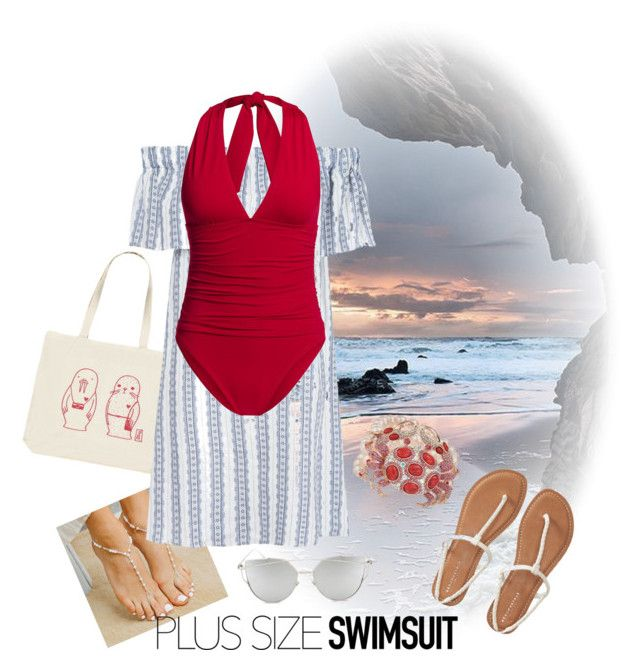 """""""Stylish Curves:Swimsuit"""" by marinaova ❤ liked on Polyvore featuring Forever 21, Forever Soles, Sea, New York, Betsey Johnson, Aéropostale, Canvas by Lands' End, Chicnova Fashion, stylishcurves and plussizeswimsuit"""