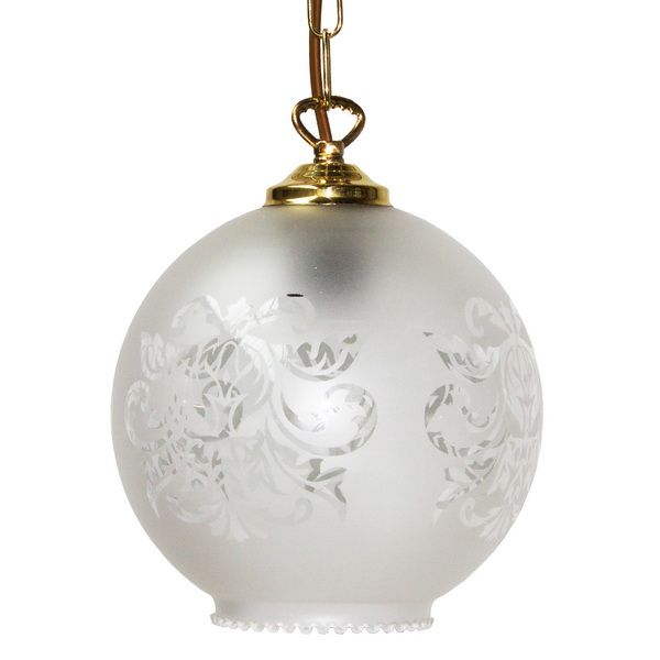 Victorian Ceiling Pendant Light With Beautiful Frosted Etched Glass Shade On Solid Brass Fitting