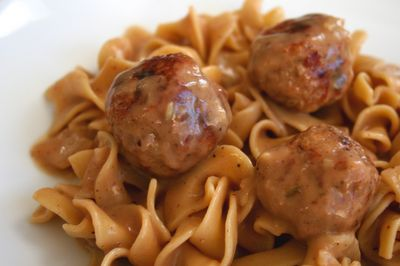 swedish meatballs with ground turkey. healthier and still so yummy
