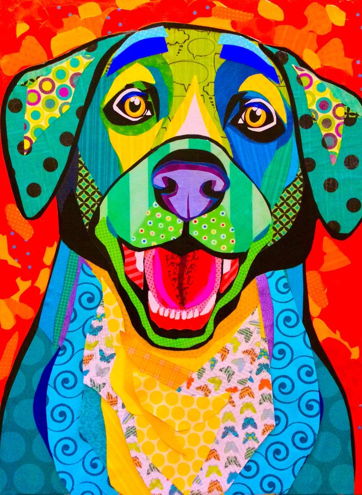 """Cut paper Collage art, 16""""x20"""" """"You're Home!"""", by Laura Yager. Dog artwork, abstract animal artwork, colorful animal artwork"""