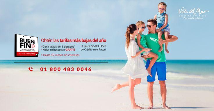 El Buen Fin ya llegó a Villa del Mar. Reserva hoy con las ofertas más atractivas del año y viaja después. (De noviembre 19 de 2017 y hasta marzo 30 de 2018) en una de las mejores playas de México.   Reserva llamando al ☎️ 01.800.483.0046  #elbuenfin #buenfin #puertovallarta #hotel #vacaciones #ofertas