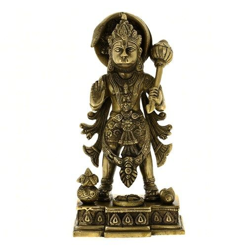 Hindu god hanumanSize:H-10,L-5,W-3inchesWeight:2.7kgMaterial: brassMade in IndiaThis item can be shipped Worldwide
