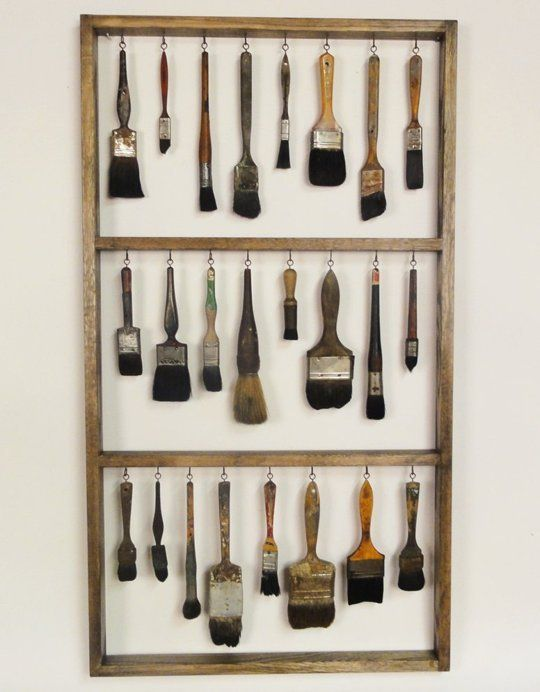 Great idea for storing and drying paintbrushes -- but it also just LOOKS really fantastic! I'd put this up as art!