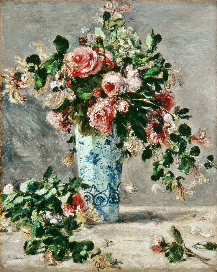Pierre-Auguste Renoir Roses and Jasmine in a Delft Vase 1881