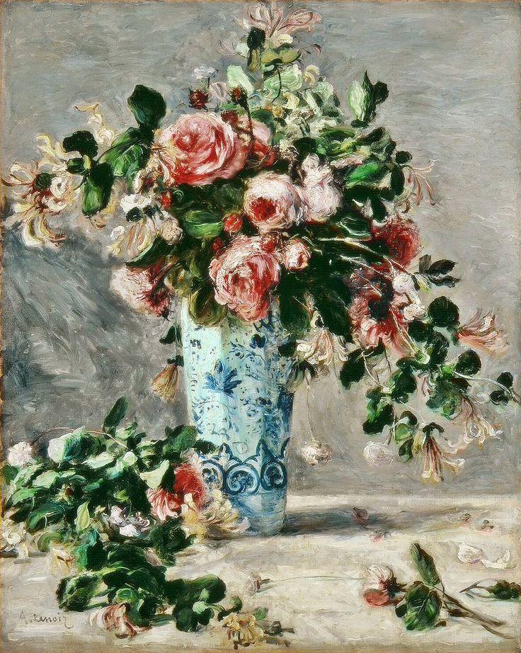 Pierre-Auguste Renoir Roses and Jasmine in a Delft Vase 1881