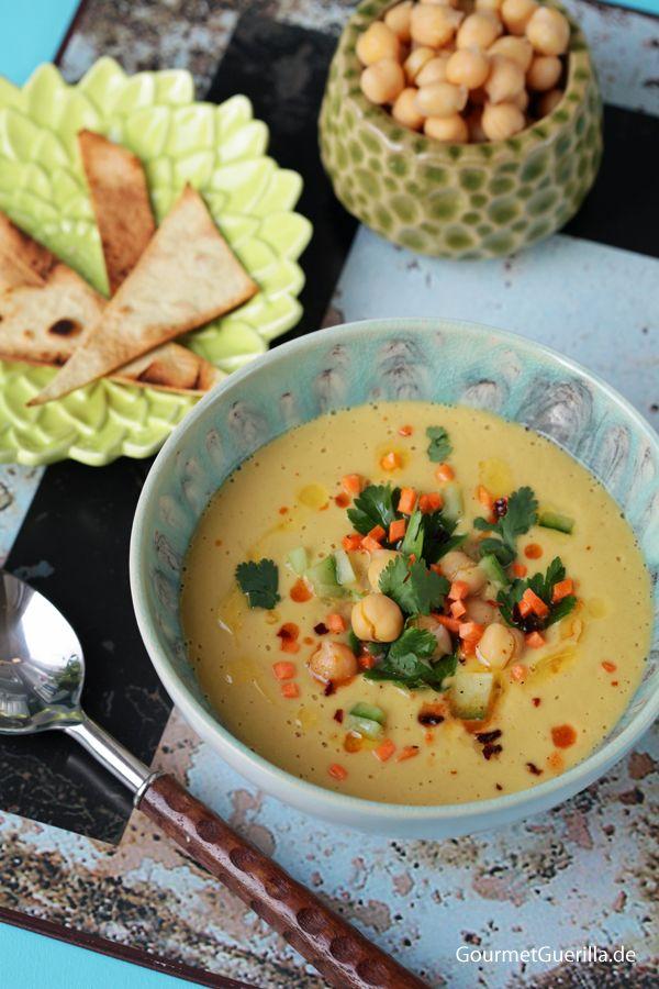 Samtige Hummus-Suppe mit Fladenbrot #vegan #blitzschnell #gourmetguerilla
