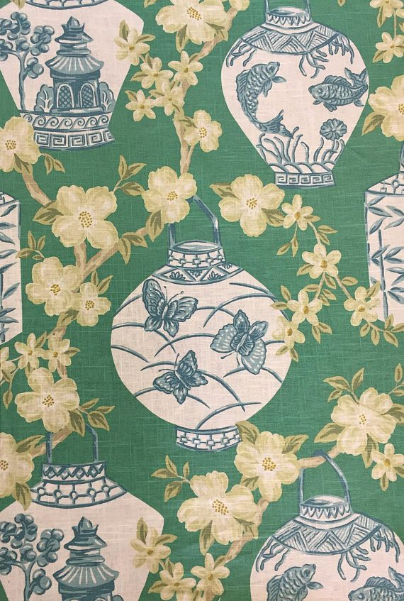 Peacock Lantern - Chinoiserie - Asian Style - Drapery - Upholstery Fabric By The Yard This fabric is a light weight and is suitable for upholstery, window treatments, bedding, and pillows. For more information on this fabric please see below. FABRIC SAMPLES: Fabric Name for Sample