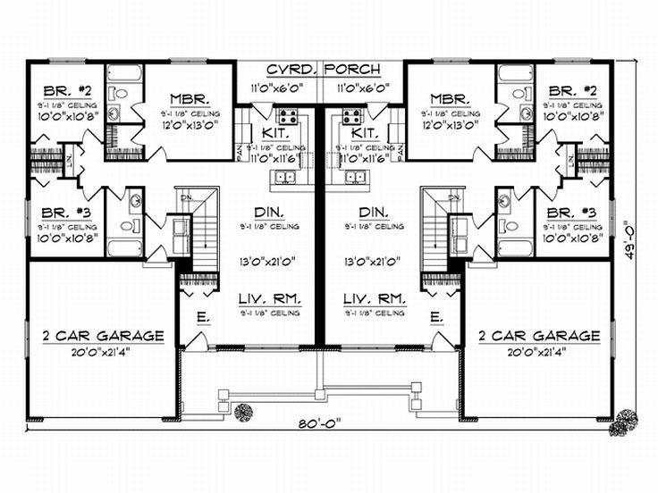 19 best duplex plans images on pinterest family homes for Cool house plans duplex