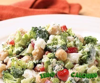 Овощной салат с брокколи на 100грамм - 27.77 ккал, Б/Ж/У - 2.29/0.41/4.89