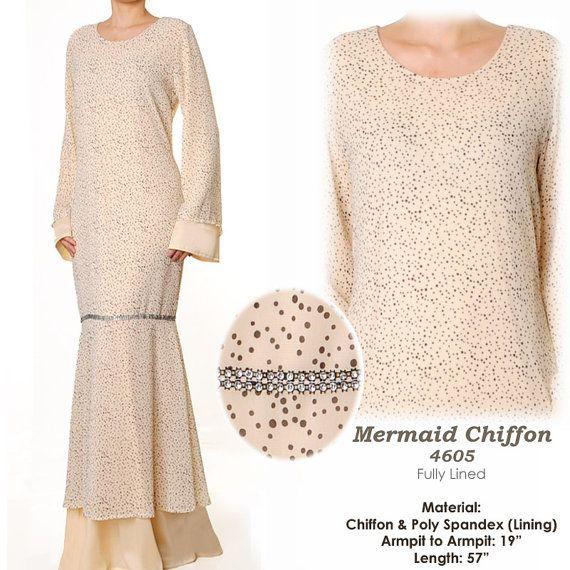 Elegant Beige Chiffon Mermaid Abaya Long Sleeves by MissMode21, $32.00