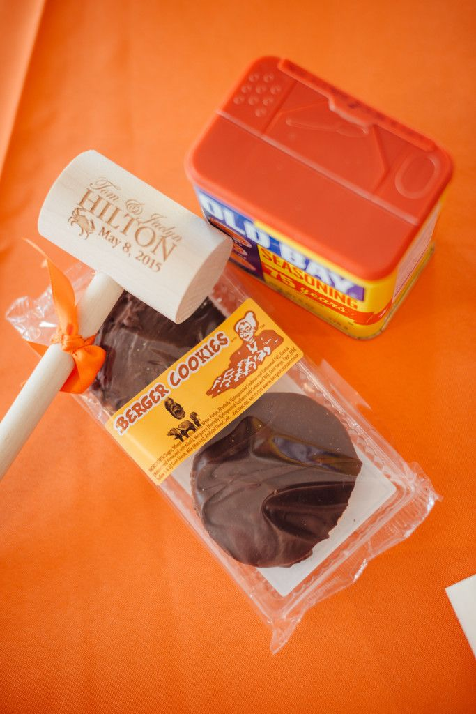 Baltimore themed wedding favors: personalized crab mallet, Old Bay, Berger Cookies perfect Baltimore wedding favors!