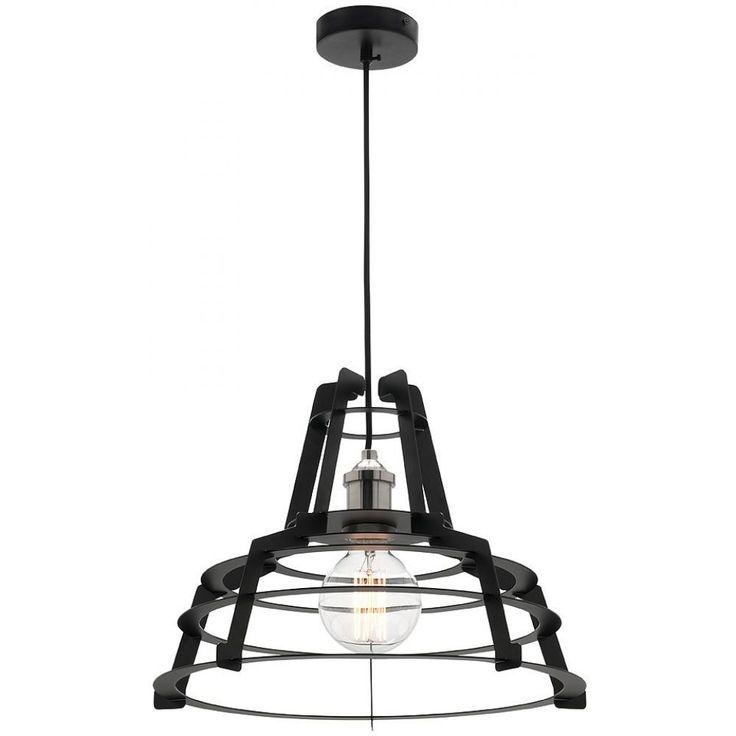 Avril Pendant Light (Small)Brand: MercatorSKU: MG8021S- Material: Matt Black Metal, Brushed Pewter Lampholder