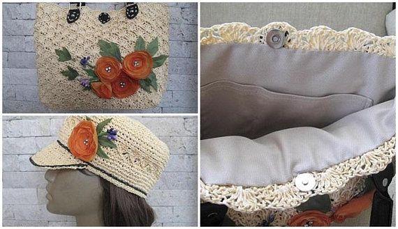 Crochet Bag Hat Set Paper Yarn Crochet Straw Bag Hat Handknit Paper Drawstring Bag Hat Boho Chic Bag Organza Flow Paper Yarn Crochet Hats Boho Chic Bags