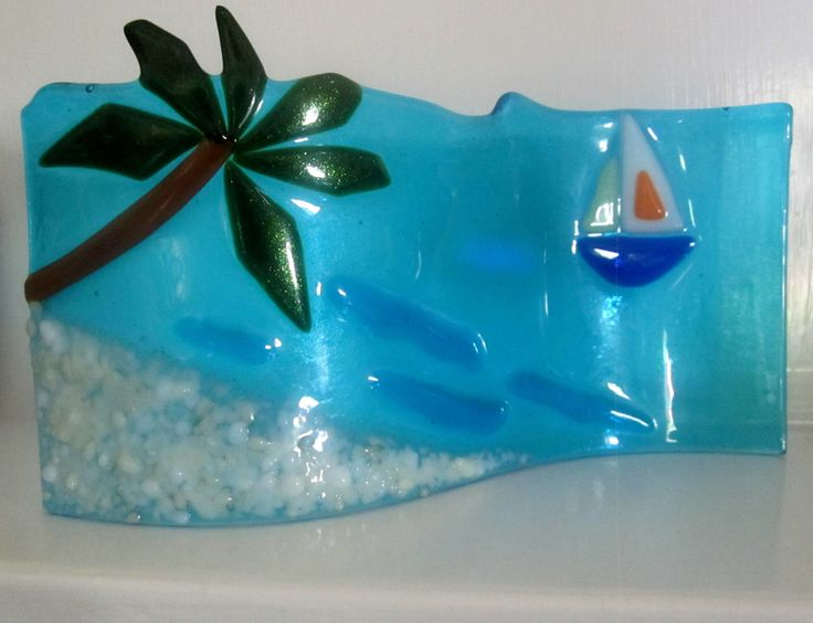 Fused Glass Wave Art, Ocean Beach Glass Art, Fused Glass Palm Tree, Glass Boat on Turquoise Water, Summer Fused Glass Decor by Shakufdesign on Etsy https://www.etsy.com/listing/189340128/fused-glass-wave-art-ocean-beach-glass