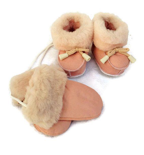Shearling Mittens New Born Sheepskin Gloves Infant Boots Kids Boy & Girl…