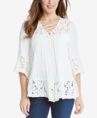 Karen Kane Lace-Up Lace-Trim Top $58.99 Embody feminine elegance in this gorgeous lace-trim top from Karen Kane.