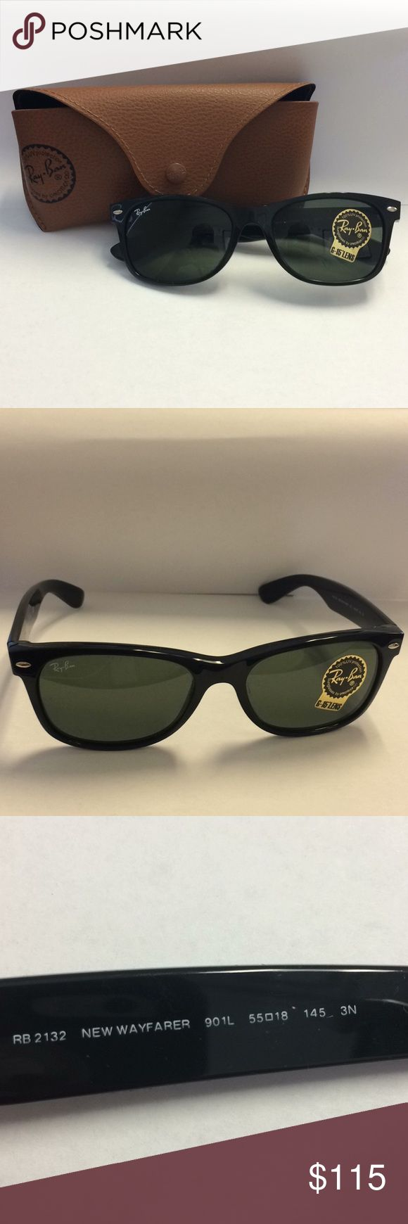 🎁🎉New Ray-Ban New Wayfarer Sunglasses RB2132🎉🎁 The New in Box Ray-Ban Wayfarer. Black plastic frames with green polarized G-15 Lens. Size shown within photo( 901L 55018 145 3N). New brown sunglasses case included! Ray-Ban Accessories Sunglasses