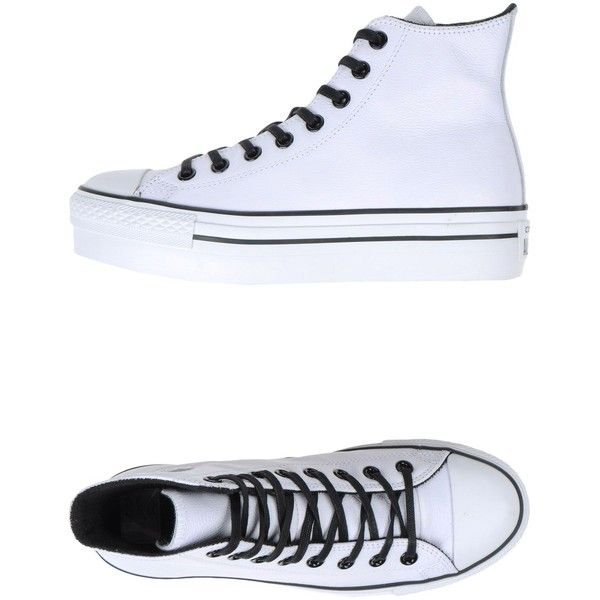 Converse All Star Sneakers ($216) ❤ liked on Polyvore featuring shoes, sneakers, white, leather wedge shoes, wedges shoes, white wedge shoes, converse trainers and white shoes