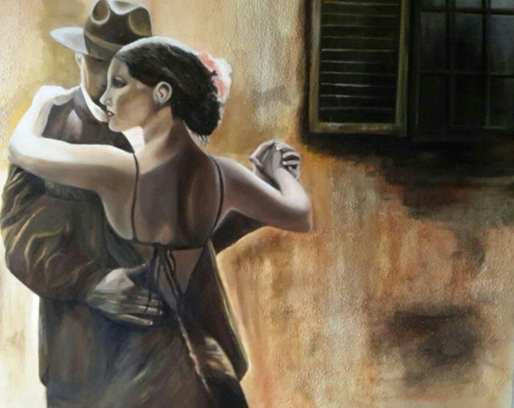 """""""Tango anni 30"""" prima versione - olio su tela 70x120 - anno 2016"""