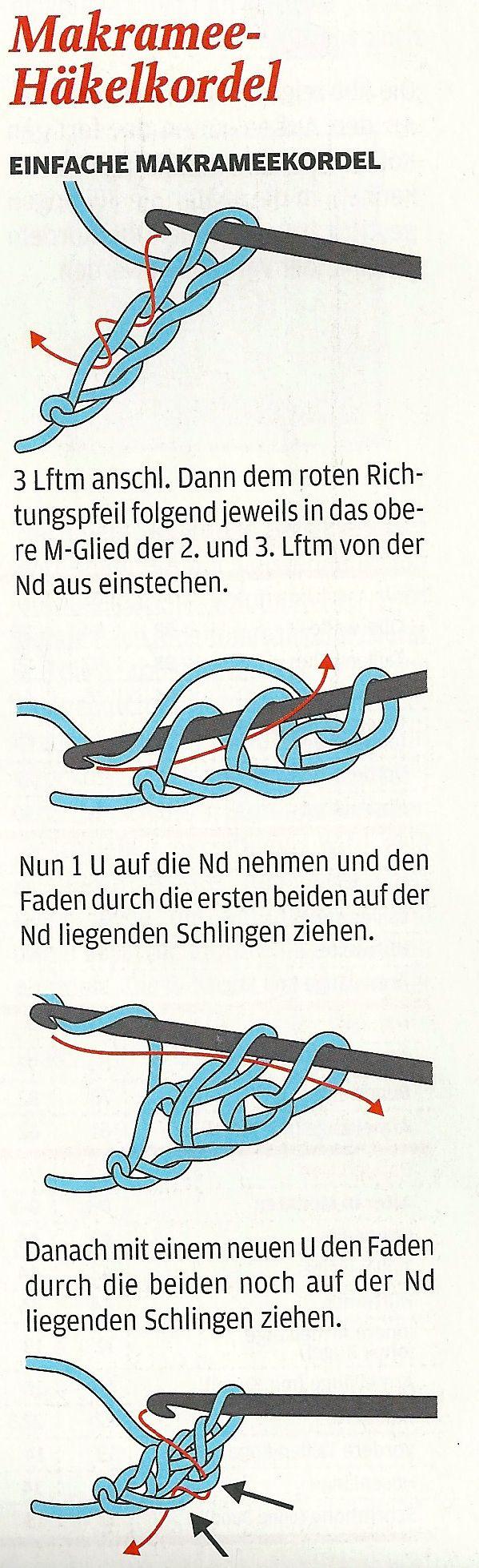 Makramee-Häkelkordel (basic Romanian Point Lace crochet cord instructions) from Lena magazine, September 2011