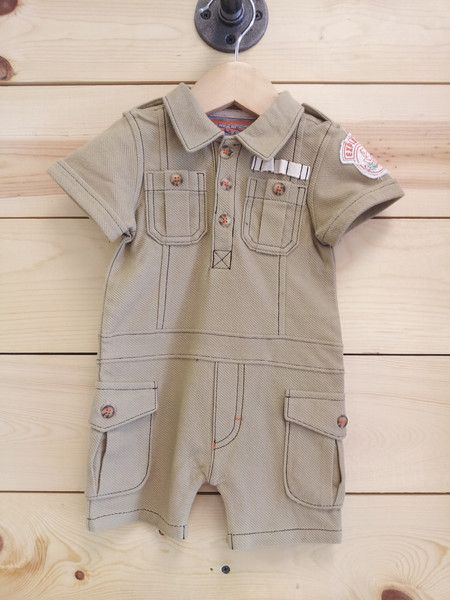 Baby boy first birthday outfit Safari Romper cargo romper by Kapital K. Great for Safari ...