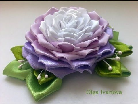 Цветок Канзаши Мастер Класс Своими Руками Flower Кanzashi Hand Made - нежный бело- розовый цветок) - YouTube