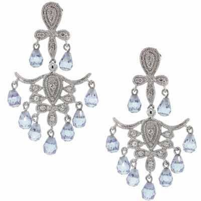 Sterling Silver Lavender and White CZ Chandelier Earrings - Lavender and White Cubic Zirconia Chandelier Earrings. Crafted entirely of Sterling Silver.      Product Details              Metal Type:     sterling-silver       Metal Stamp:     925-sterling       Width:     25 mm       Backfinding:     post-with-friction-back        Stone Details:        cubic-zirconia