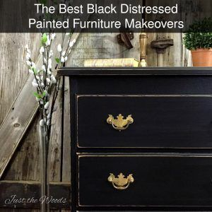The best black distressed painted furniture makeovers. Black painted dressers, desks, and chairs. A timeless and classic painted finish.