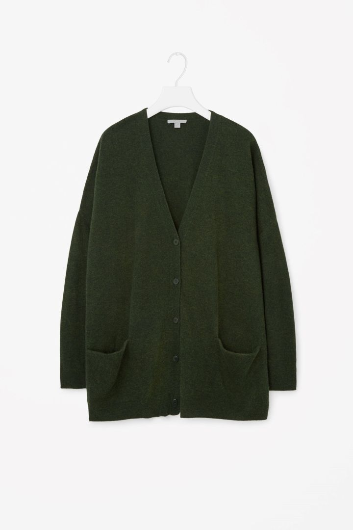 fiorest green oversized wool cardigan #cos