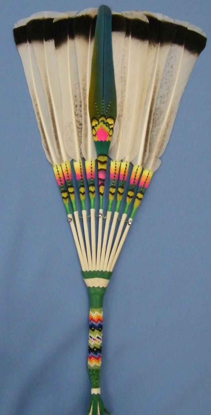 102 Best Native American Flat Feather Fans Images On Pinterest