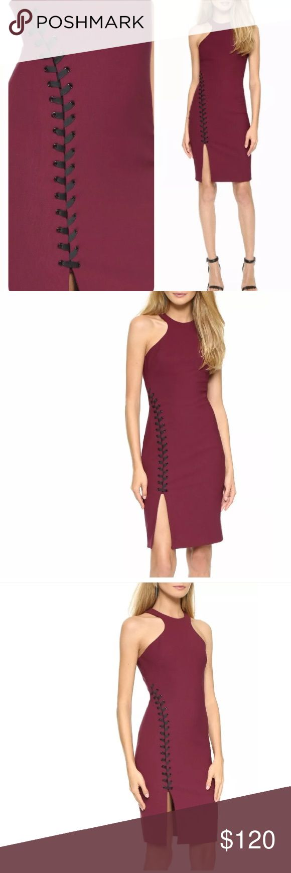 ELIZABETH AND JAMES KEATEN Lace Slit SHEATH Dress ELIZABETH and JAMES KEATEN Contrasting Lace-Up Slit Sheath Dress Retails: $445.00 Size: 10 Color: Black Cherry Thin contrast ties lace up the front slit of this contoured Elizabeth and James dress. Darts accent the bodice.  Sleeveless.  Hidden back zip Closure. Fully Lined. Fabric: Stretch Crepe Shell: 54% polyester/38% viscose/8% elastane. Lining: 97% polyester/3% spandex. Dry clean. New with tag. Item has no signs of wear. Guaranteed 100%…