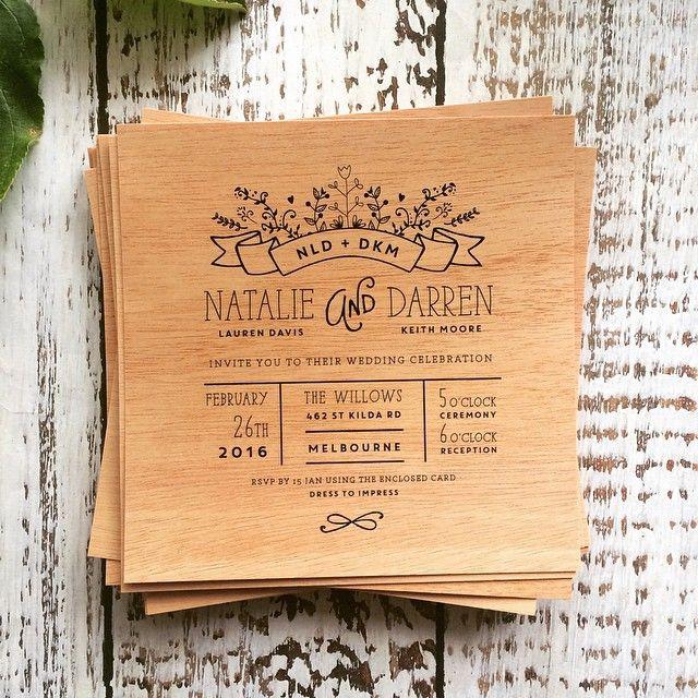 Black on wood. Wedding invitation.