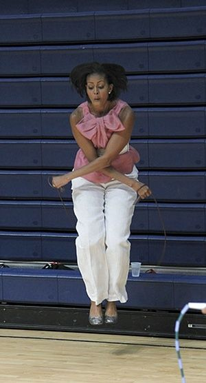 Michelle Obama fitness: First lady Michelle Obama uses a jump-rope during exercise activities