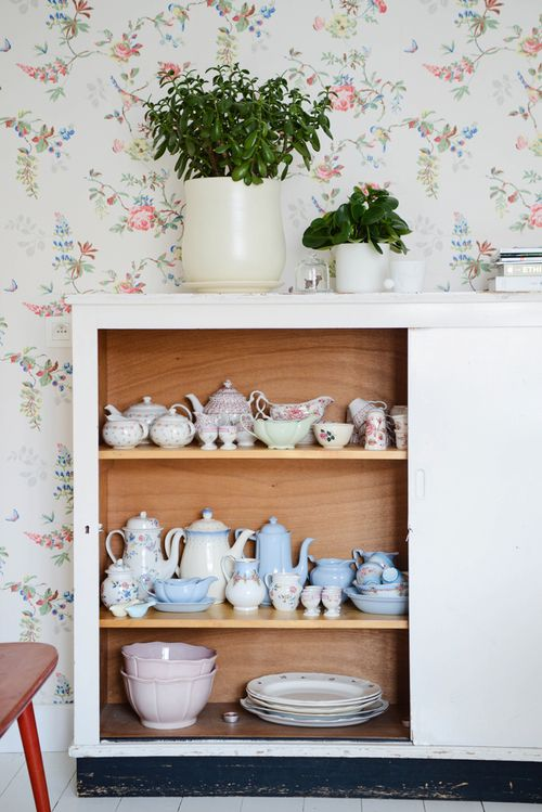 Pretty wallpaper, pastel china displayed in cabinet from an old school @ Yvestown