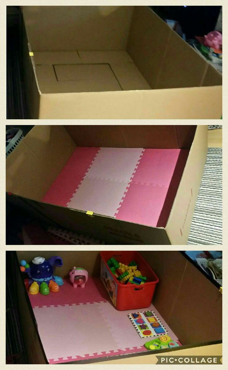 DIY Cardboard Playpen  I didn't wanna spend too much money on a playpen that my daughter's not going to use for a long time so I made one out of large shipping boxes and old rubber mats. Yes, I thought of her literally tearing it apart or biting around the edges but that didn't stop me. I didn't spend money on it. When I put her in all she cared about was her toys. I'll let you know how long it will last.