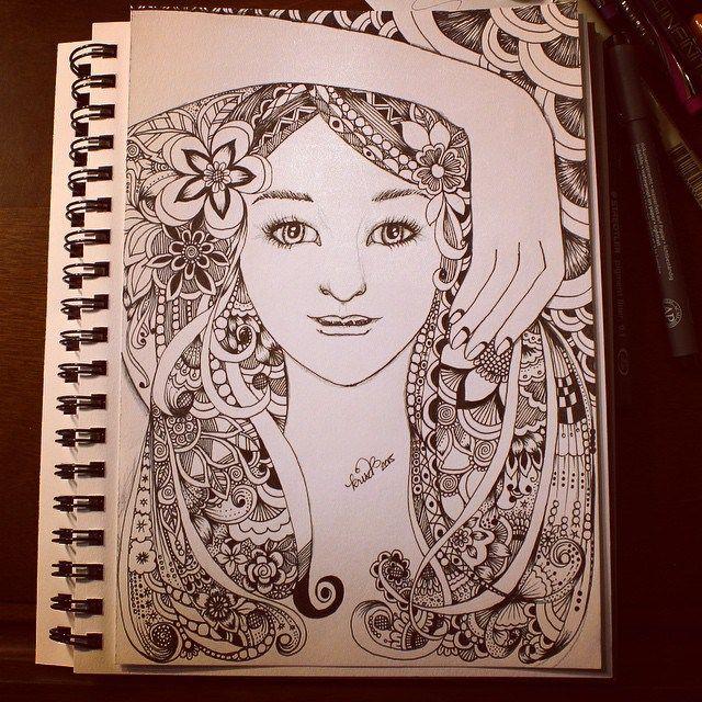 Kc doodle art zentangle doodle designs pinterest for Doodle art faces