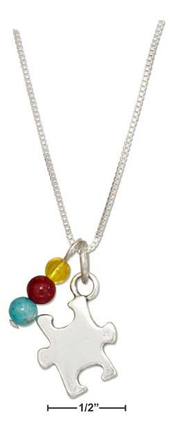 """Sterling silver 18"""" puzzle piece autism awareness pendant pendant necklace with beads"""