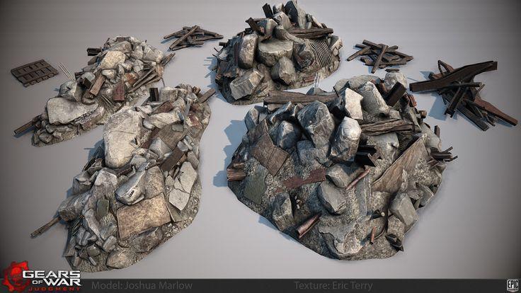 Gears of War Judgment Rubble Piles, Josh Marlow on ArtStation at https://www.artstation.com/artwork/gears-of-war-judgment-rubble-piles