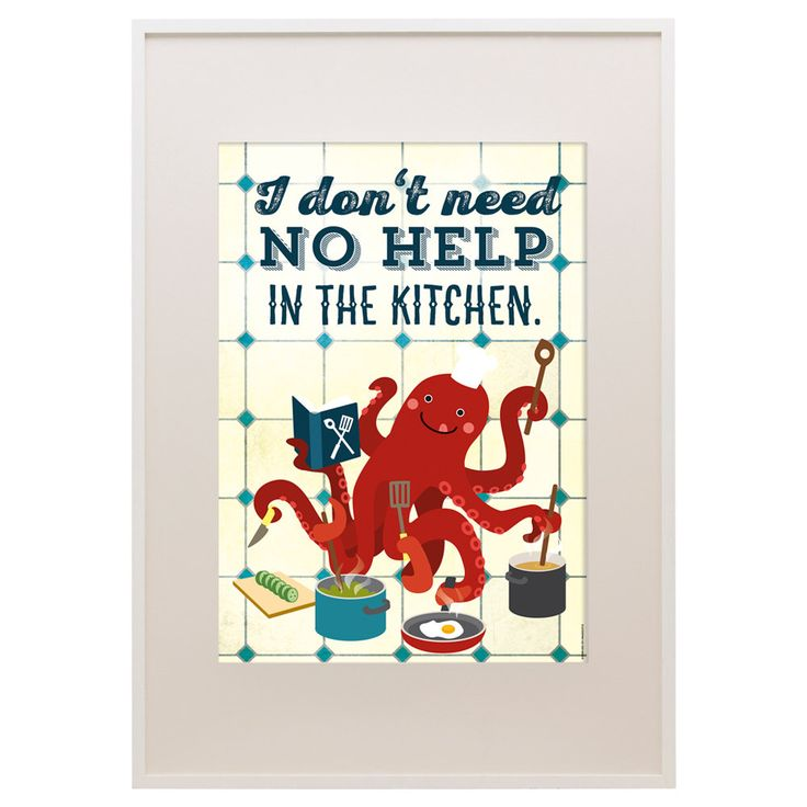 """Octopus Kitchen Poster 11""""x16"""", Le Chef, Cooking Octopus, Art Print, Animal Art Print, Illustration, Vector Art, Kitchen Poster by kaeselotti on Etsy https://www.etsy.com/listing/252402216/octopus-kitchen-poster-11x16-le-chef"""