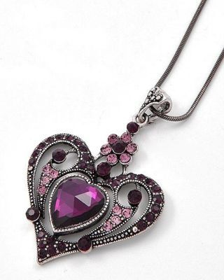 Victorian Gothic-Style Purple Crystal Heart Necklace.